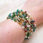 Autumn Color Wrap Bracelet, Crochet..