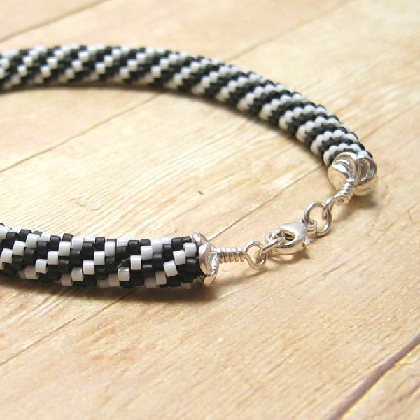 Bead Crochet Bracelet, Black and White Spiral Stripes, Handmade Women's Beaded Jewelry, Fashion Accessory