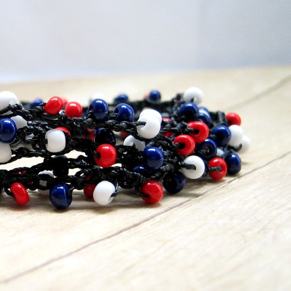 Boho Style Crochet Wrap Bracelet, Red, White, Blue, Black Nylon Cord, Necklace, Anklet, Summer Jewelry, Patriotic, USA