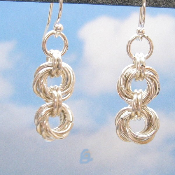 Sterling Silver Earrings, Double Mobius Flower Chain Mail, Handmade Silver Chain Maille Jewelry, Dangle