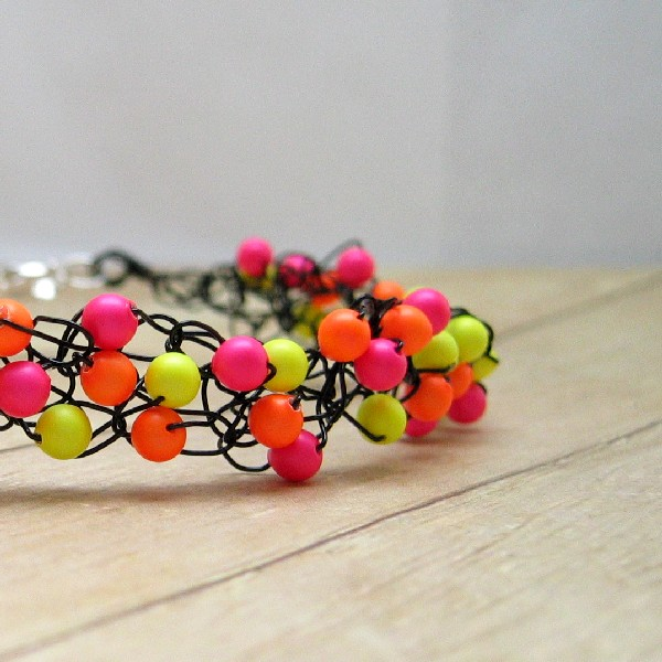 Wire Crochet Bracelet, Neon Pearl Beads, Black Wire, Orange, Yellow, Pink, Beaded Women's Jewelry, Beadwork, Crocheted Accessory