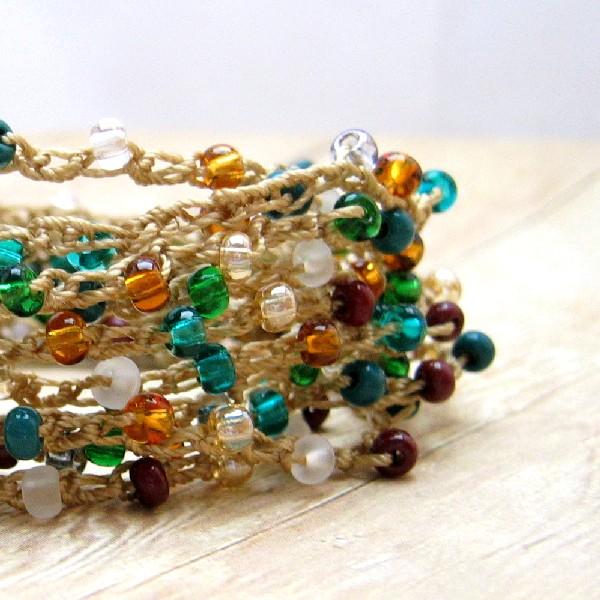 Autumn Color Wrap Bracelet, Crochet Boho Bracelet, Bohemian Style Jewelry, Fall Accessory